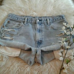 "Levis 550 sz34"" Vtg High Waist Distress Shorts"
